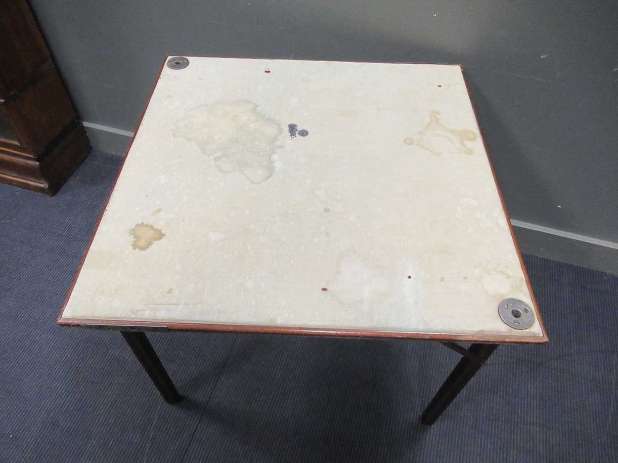 A Mudies squeezer card table with felt top and folding legs, top measures 86 x 86cm - Image 4 of 9