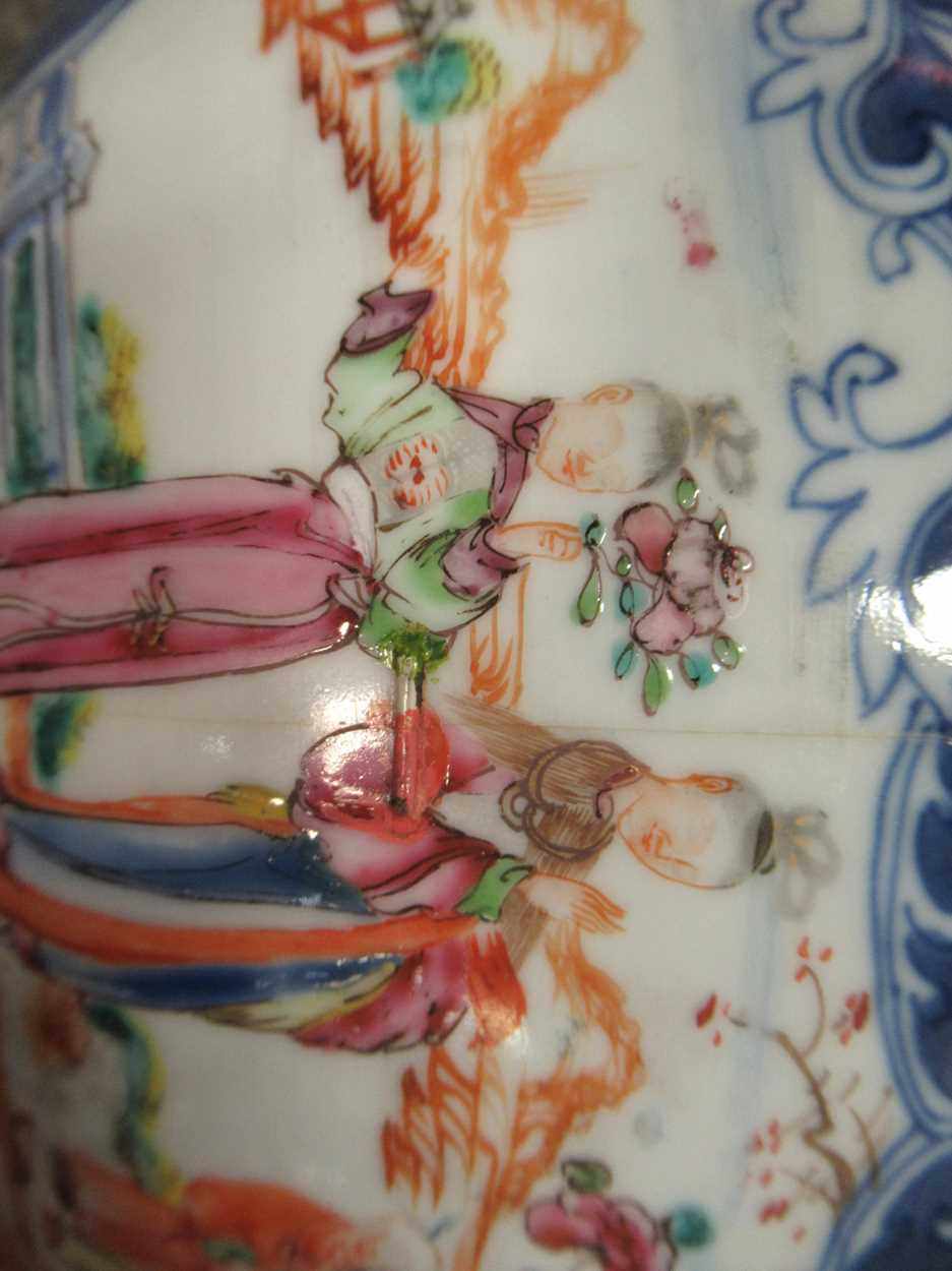 Two Chinese 18th century polychrome bowls, each decorated with courtesans, 29cm and 26cm - Image 14 of 17
