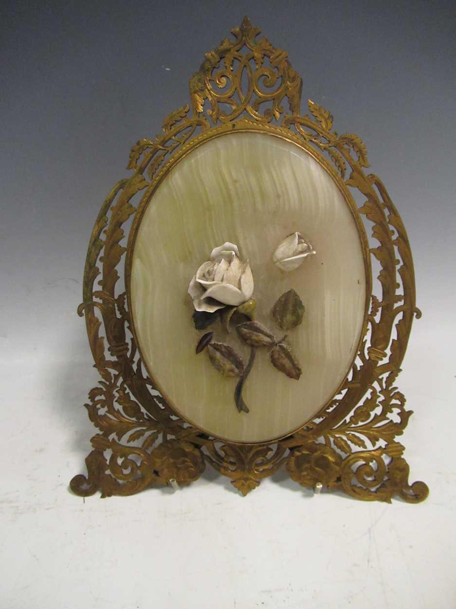 A gilt metal an onyx folding photograph frame, gilt metal mounted and glass vase, green glass - Image 2 of 17
