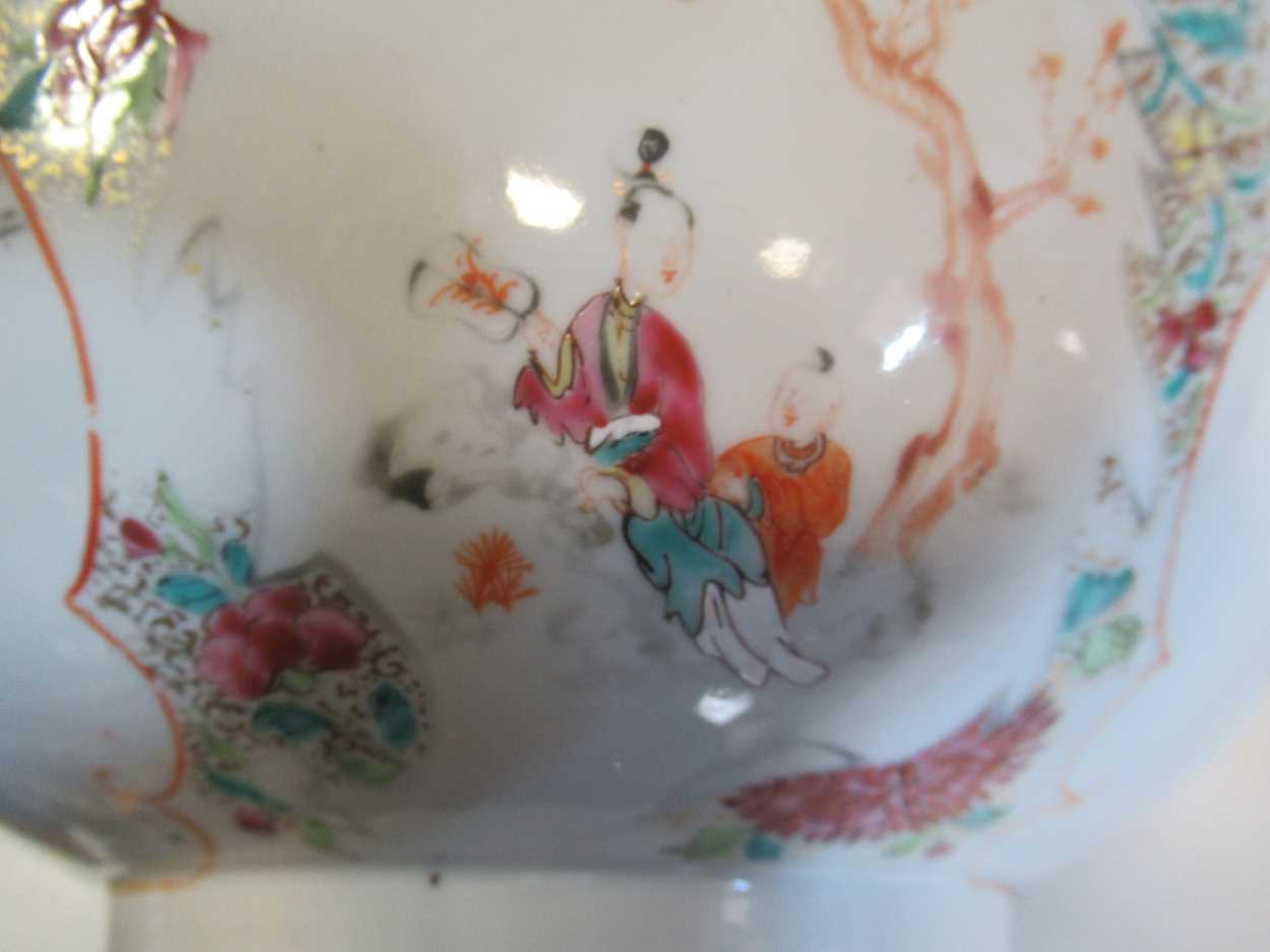 Two Chinese 18th century polychrome bowls, each decorated with courtesans, 29cm and 26cm - Image 2 of 17