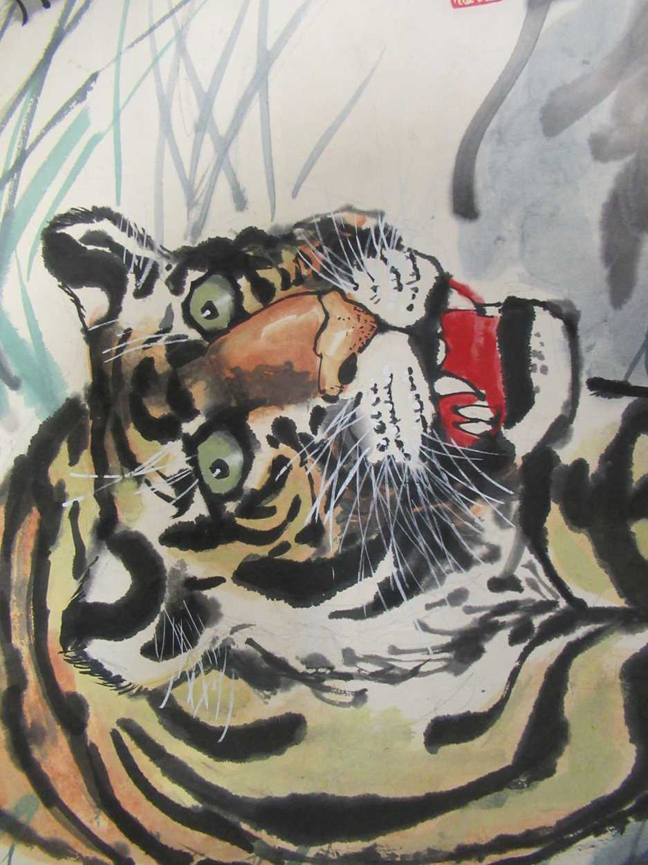 A group of three 20th century Chinese watercolour and gouaches, to include Northeast Treasure, 44. - Image 4 of 11