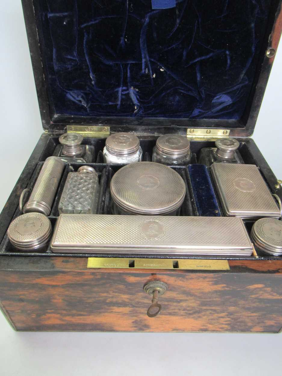 A coromandel fitted travelling dressing table box marked S.Mordan & Co, with brass plate engraved - Image 6 of 10
