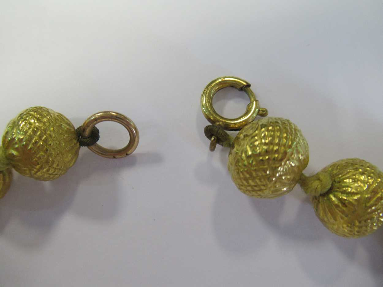 An Indian wax filled bead necklace, tested as 22ct gold, gross weight 83.2g, together with a - Image 9 of 14