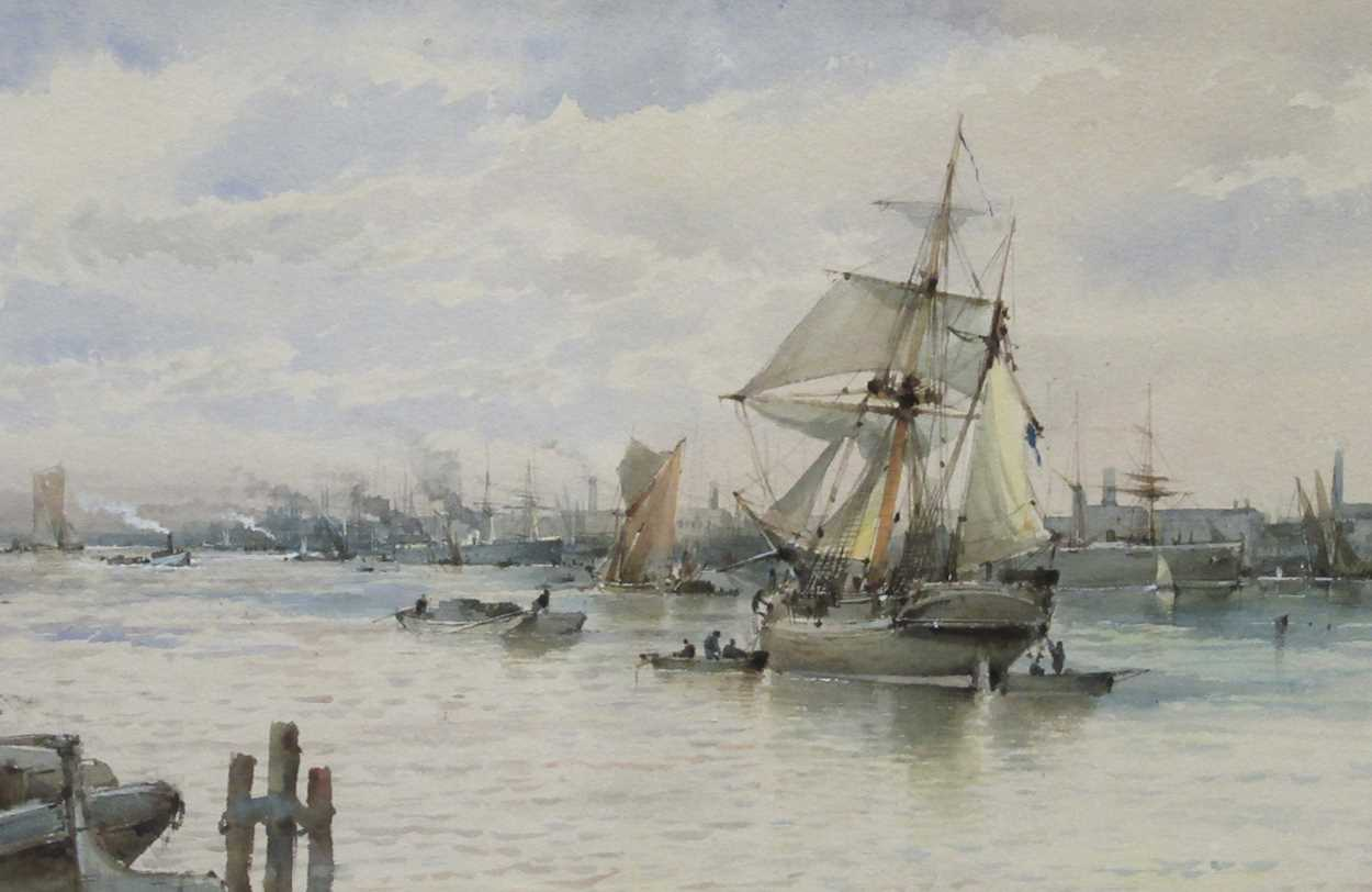 Albert Ernest Markes (British 1865-1901), Ships anchored on a busy river, possibly Rotterdam, signed