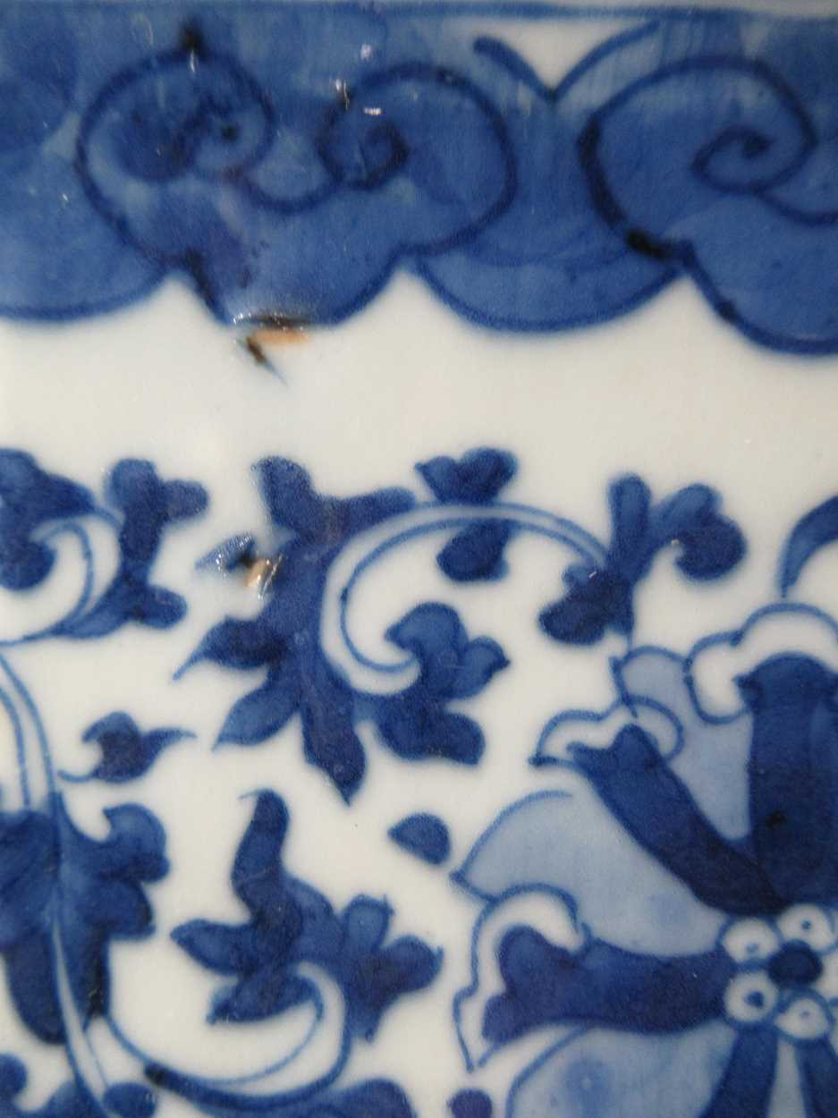 Two Chinese blue and white hexagonal jardinieres (one with a stand) 26cm wideCondition report: - Image 7 of 13