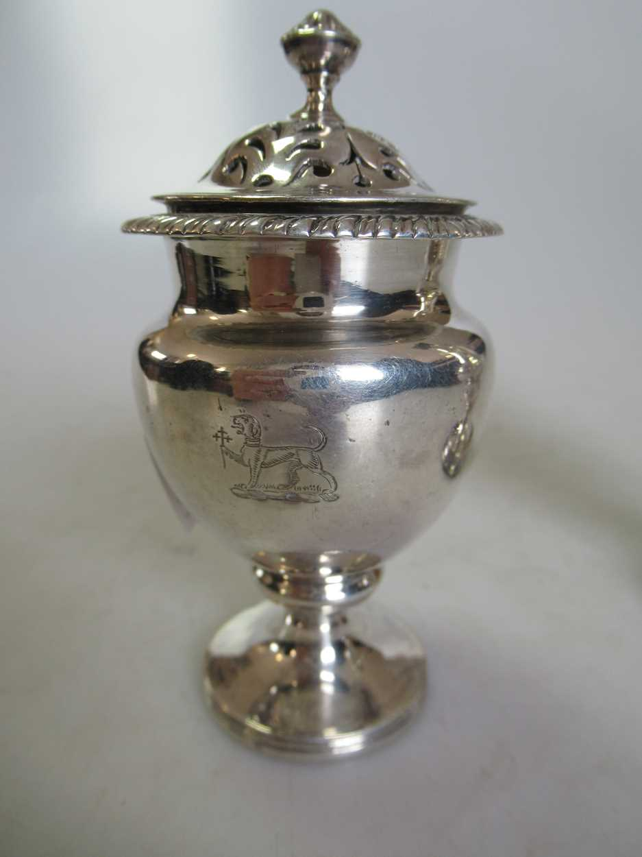 Two 18th century silver spice casters, 4.7ozt gross (2) - Image 3 of 3