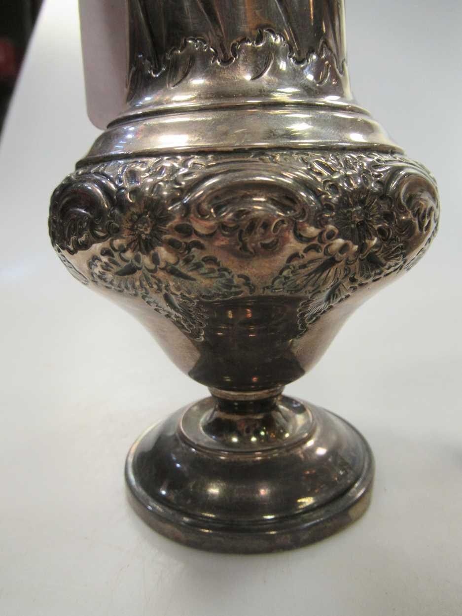 A Victorian vase sugar castor, repousse decoration, 23cm high, Sheffield 1899, maker HW for Lee & - Image 9 of 10