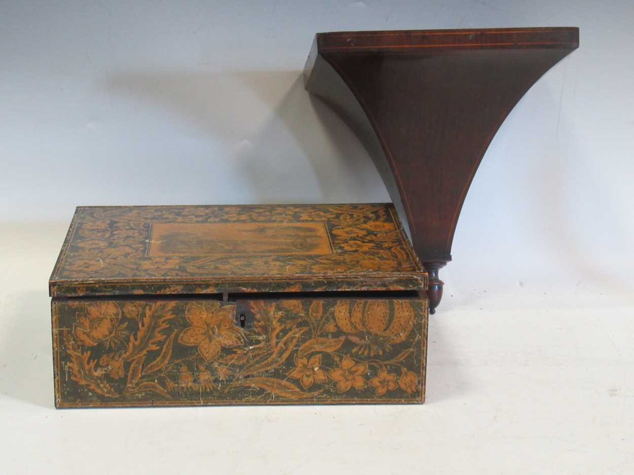 A mauchlin ware box and an Edwardian mahogany wall bracket