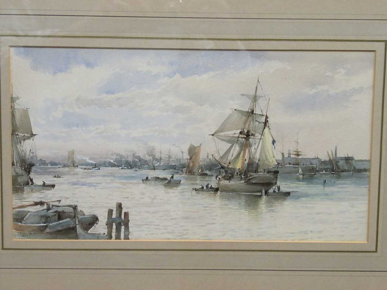 Albert Ernest Markes (British 1865-1901), Ships anchored on a busy river, possibly Rotterdam, signed - Image 2 of 5