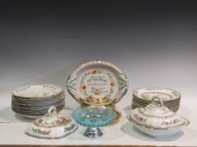 A collection of various ceramics to include a white ground floral decorated part dinner service,