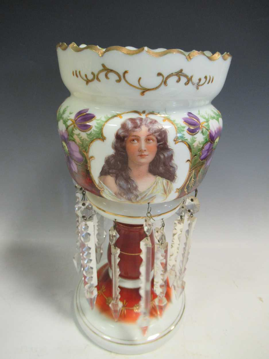 A pair of late 19th century continental opaque white glass lustres, each printed and painted with - Image 4 of 15