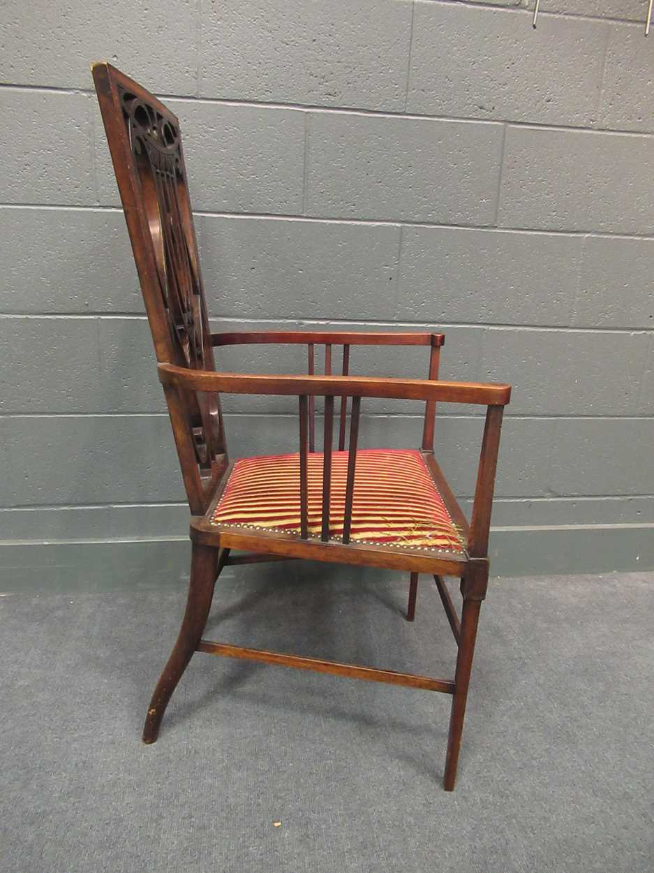 An Edwardian inlaid high-back elbow chair together with an X-frame stool - Image 8 of 15