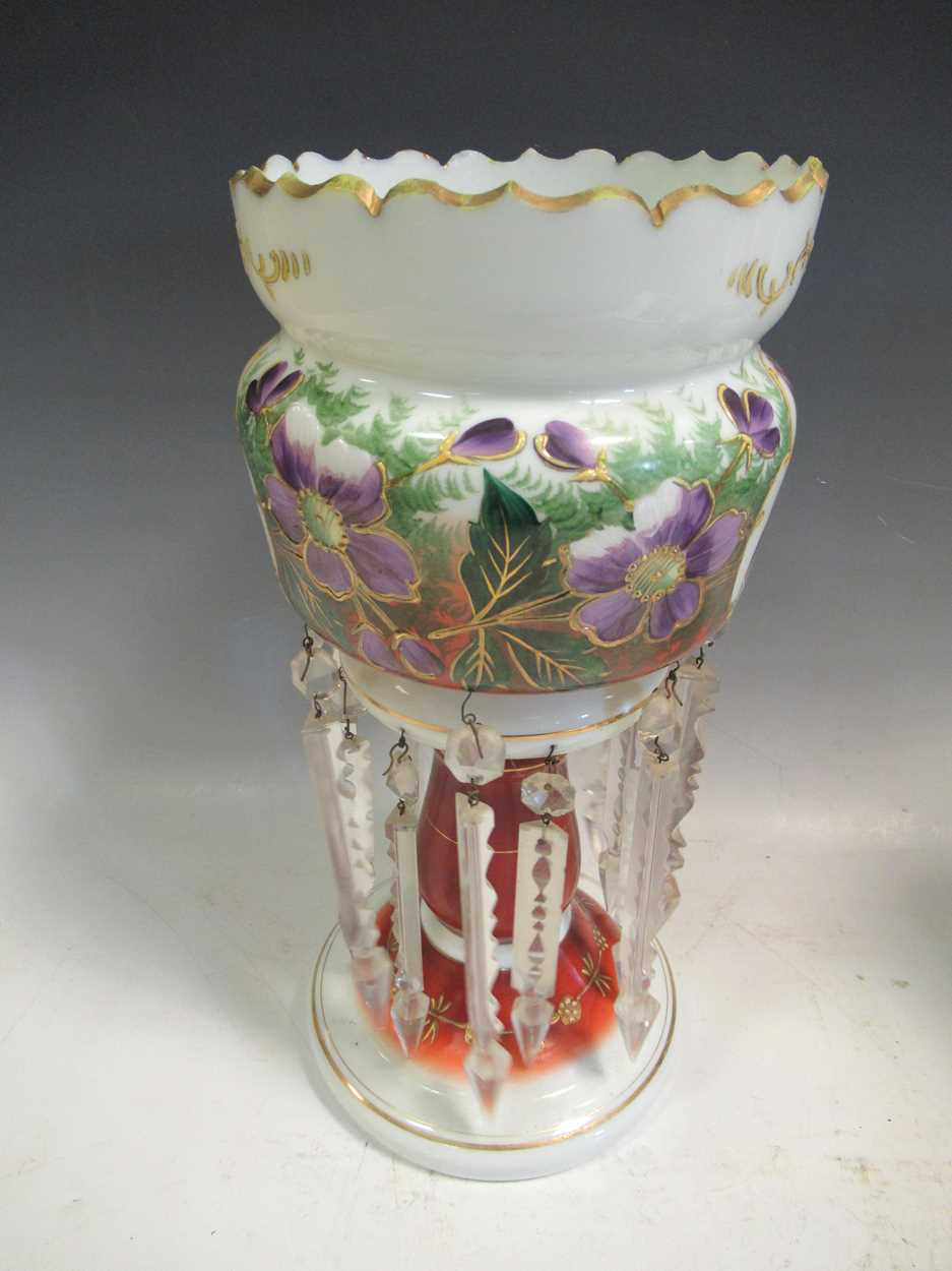 A pair of late 19th century continental opaque white glass lustres, each printed and painted with - Image 3 of 15