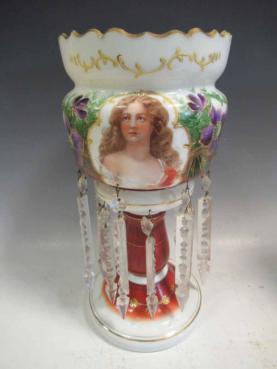 A pair of late 19th century continental opaque white glass lustres, each printed and painted with - Image 2 of 15