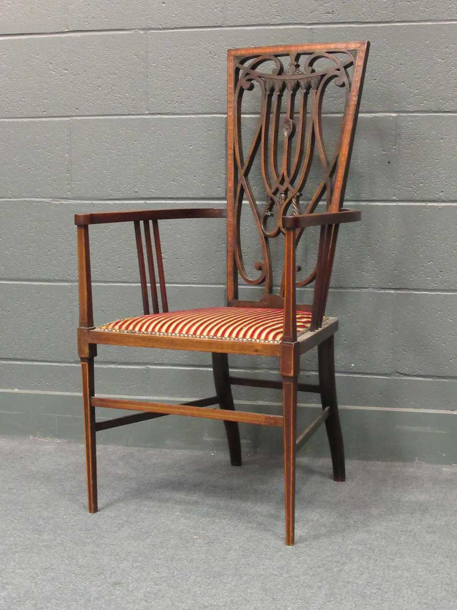 An Edwardian inlaid high-back elbow chair together with an X-frame stool