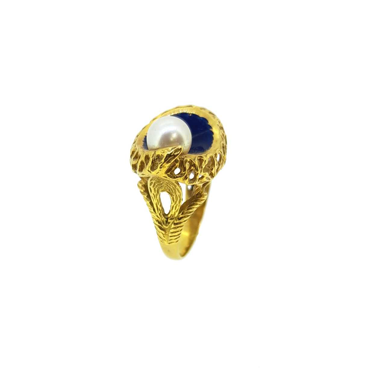 A modern enamel and pearl ring, set with a 6.2mm cultured pearl to one side, size O, unhallmarked, - Image 3 of 8