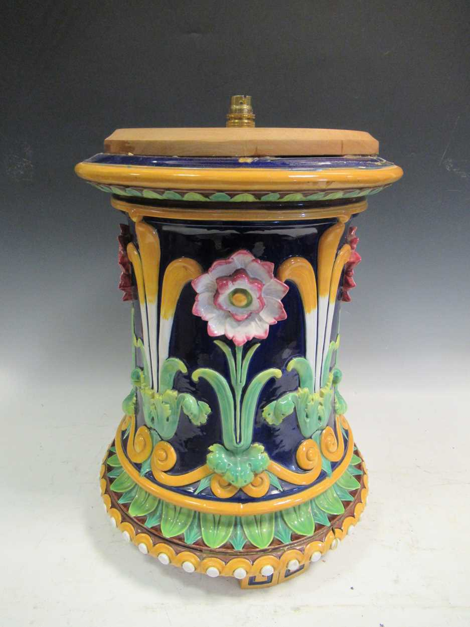 Minton majolica jardiniere stand converted to a light, impressed mark, 46cm high (top broken) - Image 2 of 14