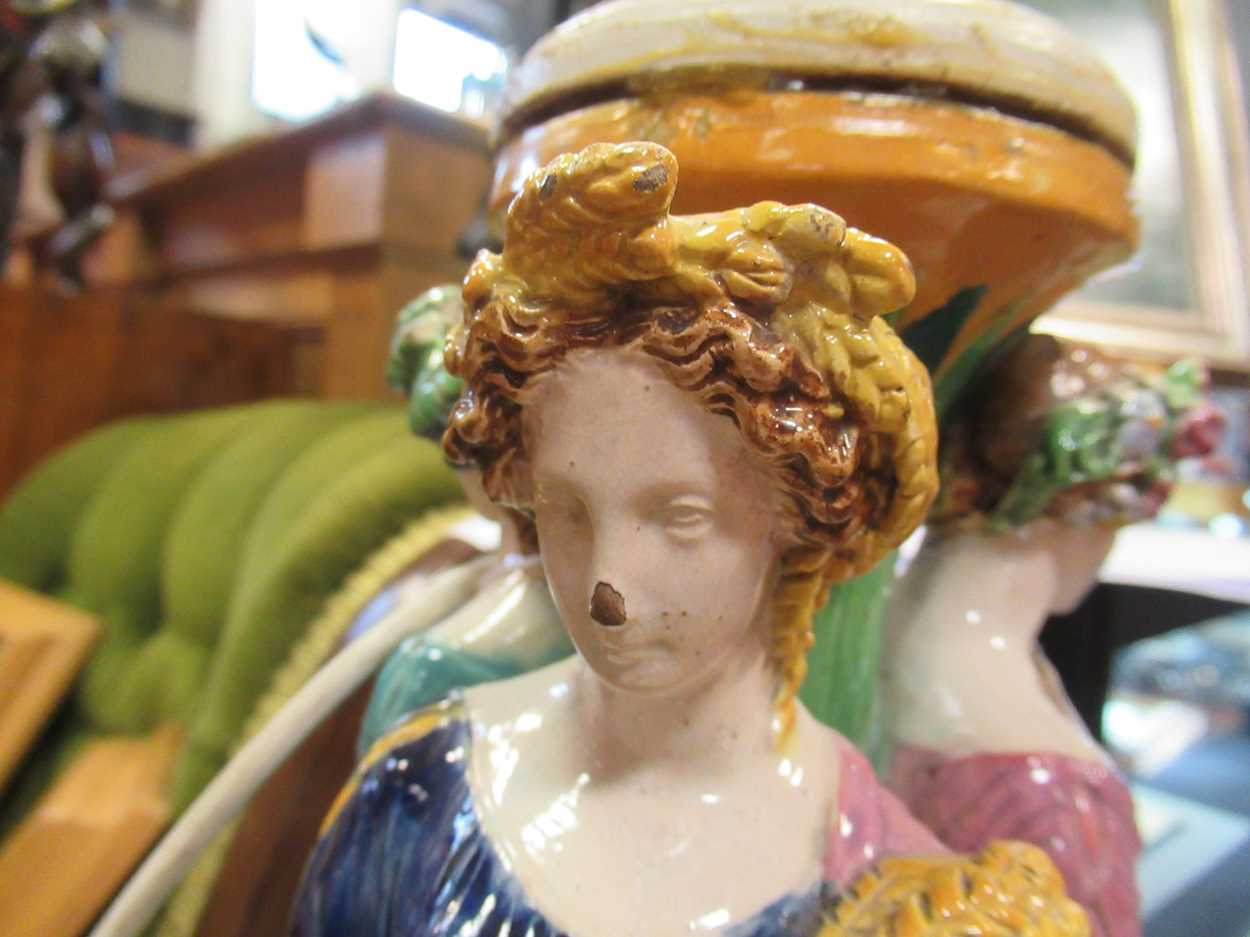 A majolica figural centrepiece, modelled as three maidens, converted to a lamp, 42cm high - Image 12 of 16