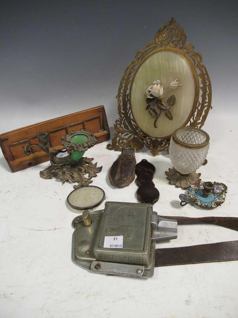 A gilt metal an onyx folding photograph frame, gilt metal mounted and glass vase, green glass