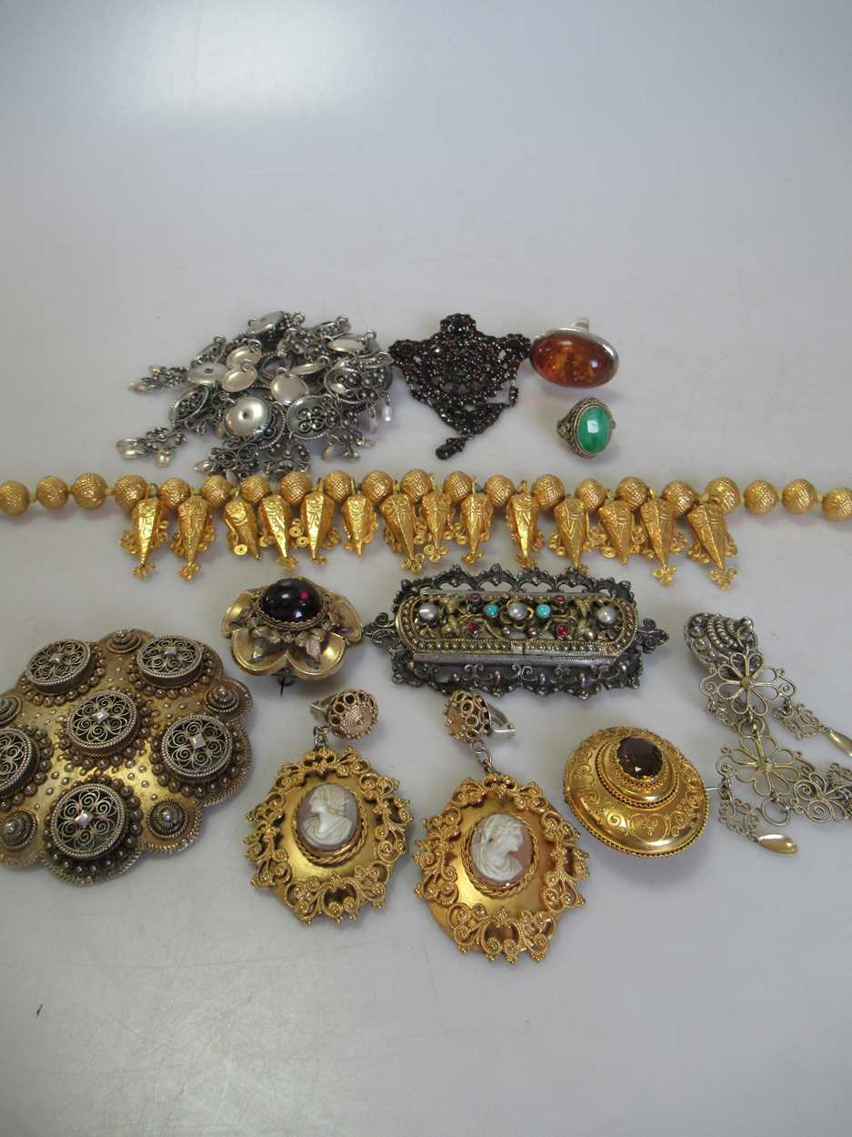 An Indian wax filled bead necklace, tested as 22ct gold, gross weight 83.2g, together with a