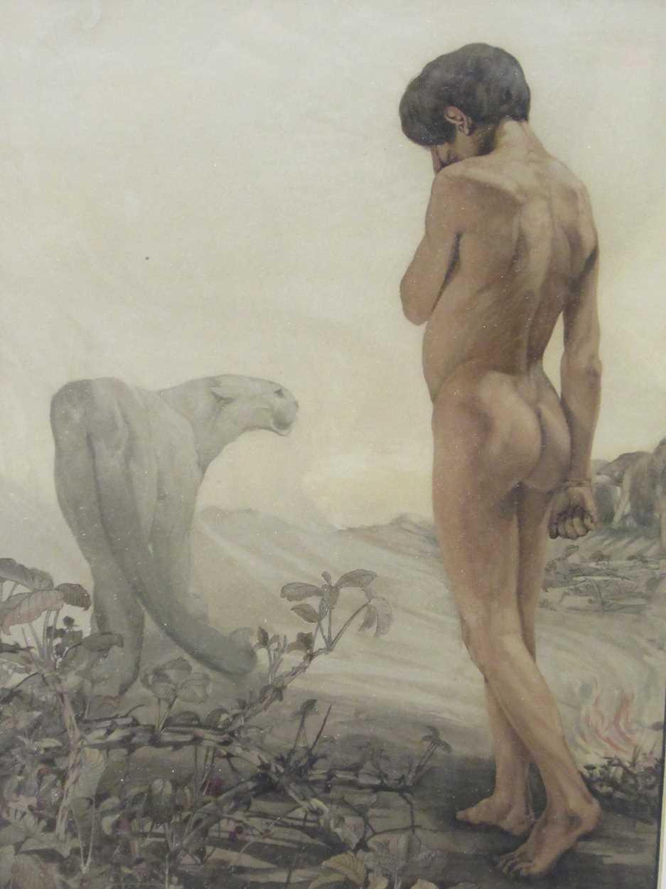 Edward J and Charles M Detmold, Mowgli leaving the jungle, lithograph, 57 x 43cm framed