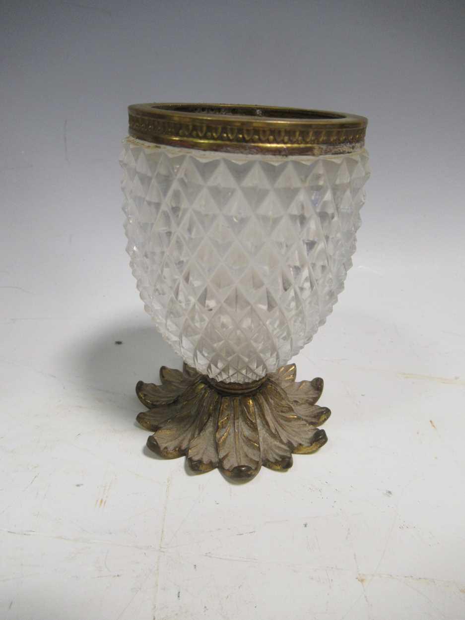 A gilt metal an onyx folding photograph frame, gilt metal mounted and glass vase, green glass - Image 6 of 17