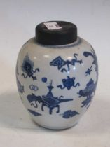 A Kang Hsi blue and white jar (A/F) 18cm highCondition report: Damage has been repair to the rim and