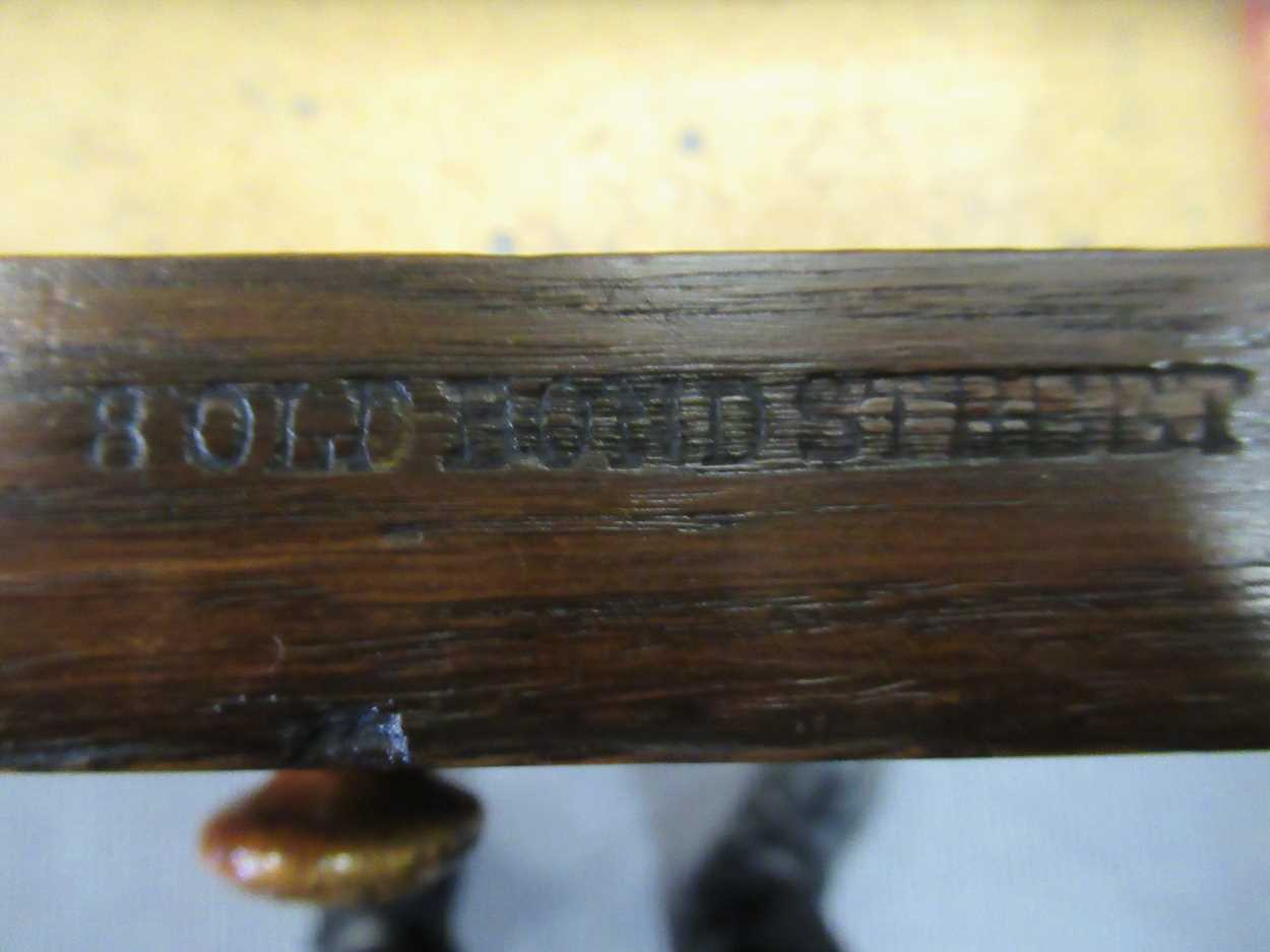 """A late Victorian oak twin pedestal writing desk stamped """"1209 Wilkinson & Son 8 Old Bond Street"""" the - Image 4 of 9"""