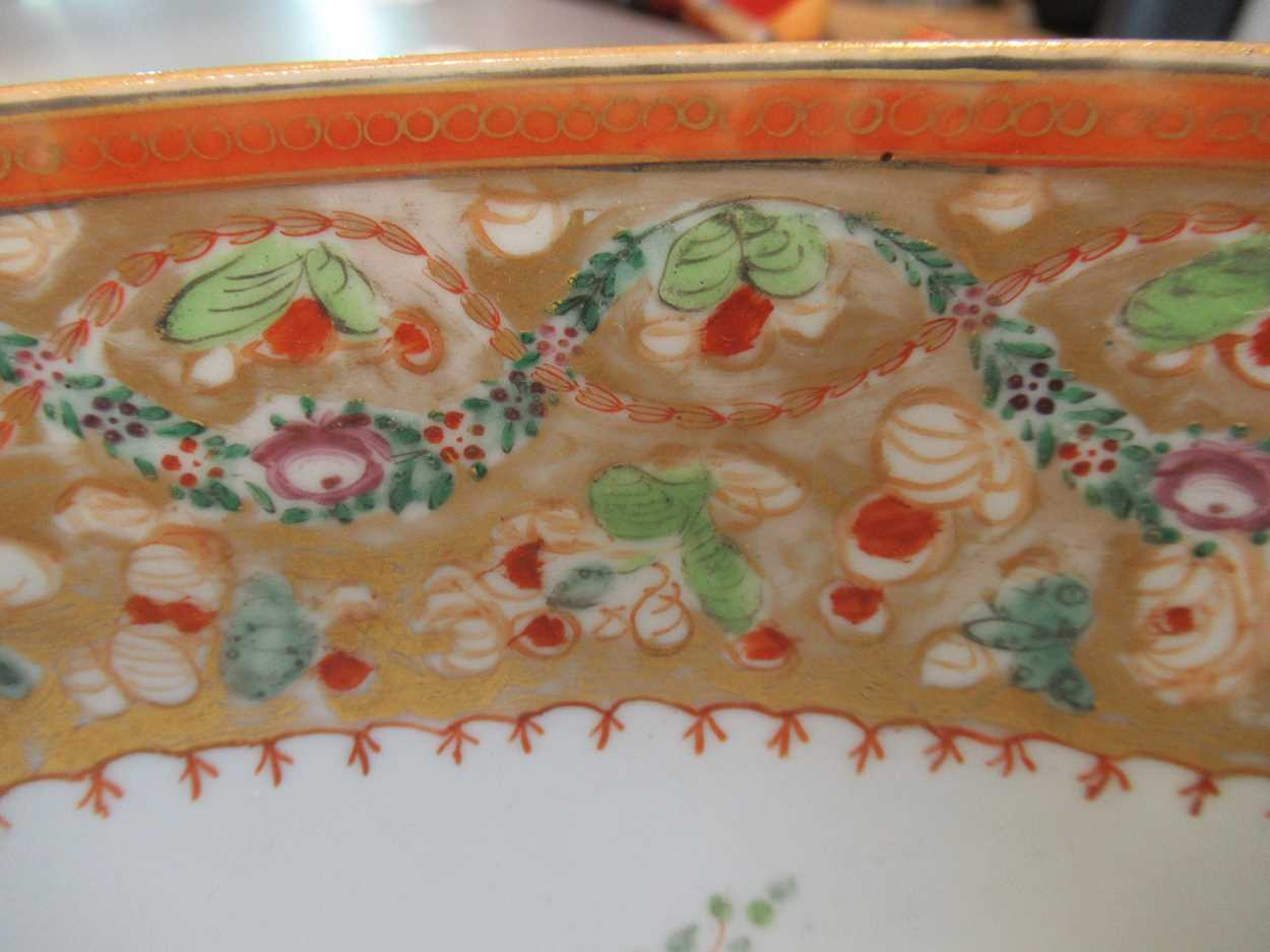 A large Sampson punch bowl, decorated in 18th century Chiense style, 36cm diameterCondition - Image 7 of 14