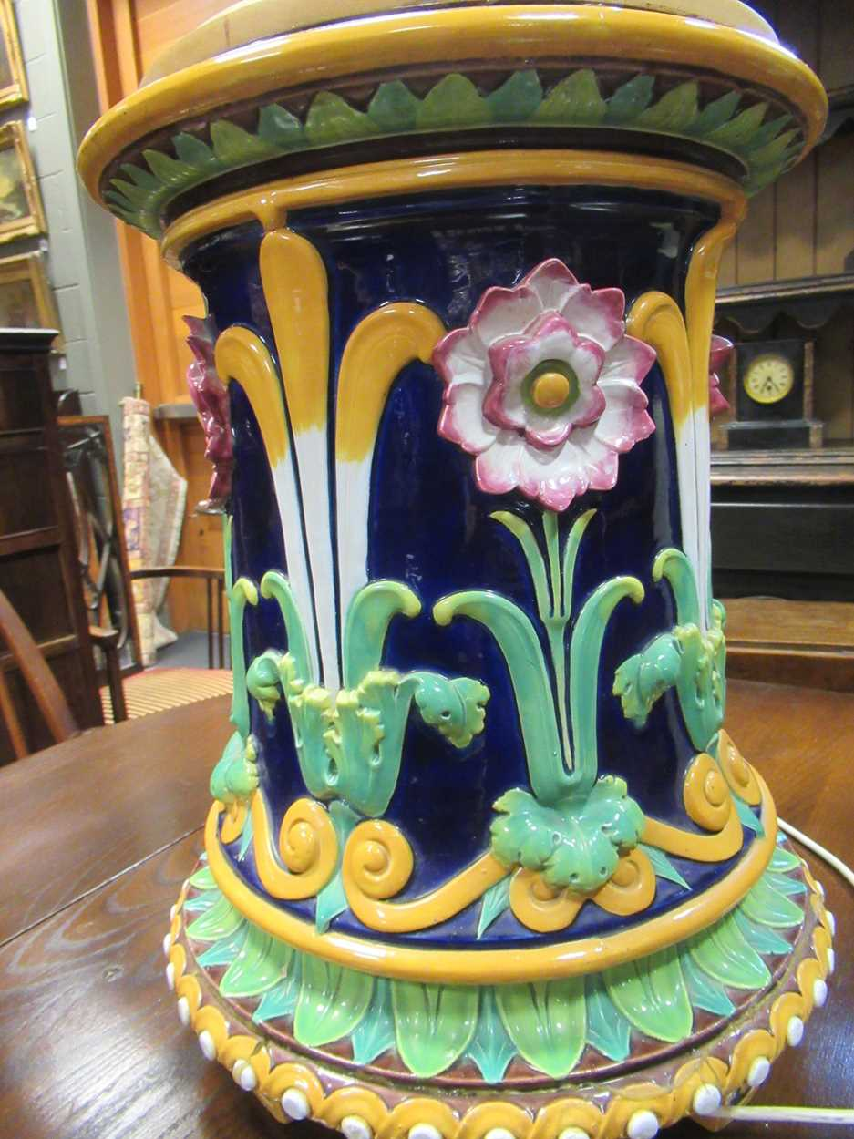 Minton majolica jardiniere stand converted to a light, impressed mark, 46cm high (top broken) - Image 14 of 14