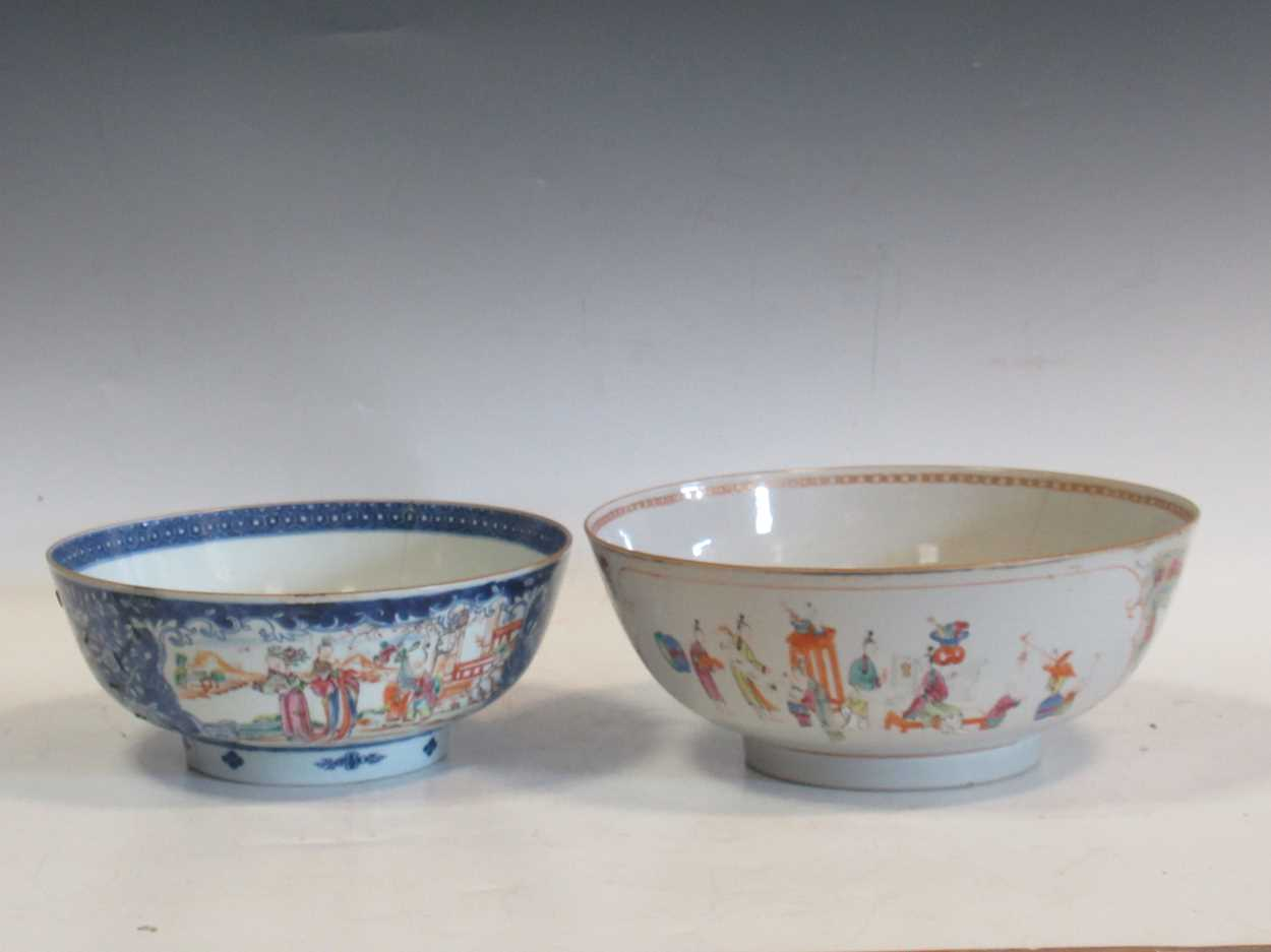 Two Chinese 18th century polychrome bowls, each decorated with courtesans, 29cm and 26cm