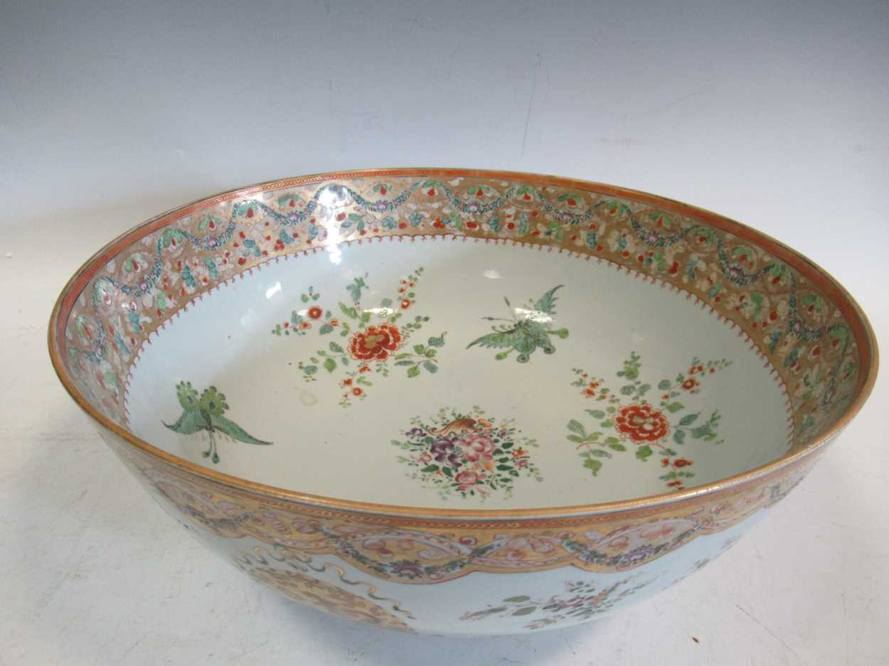 A large Sampson punch bowl, decorated in 18th century Chiense style, 36cm diameterCondition - Image 6 of 14