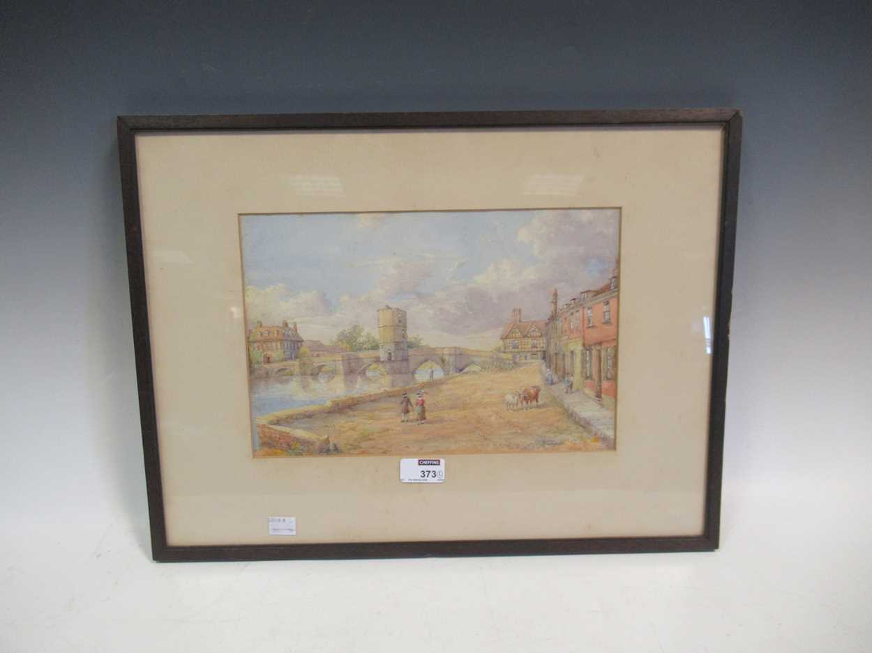 A watercolour of St Ives bridge by J A Temple, dated 1921, 21 x 31cm and another watercolour coastal - Image 9 of 10