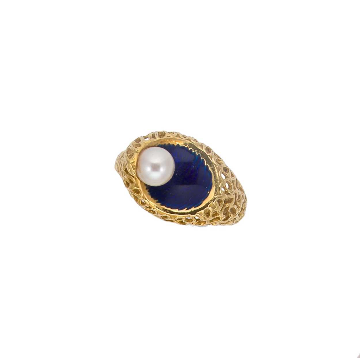 A modern enamel and pearl ring, set with a 6.2mm cultured pearl to one side, size O, unhallmarked, - Image 2 of 8