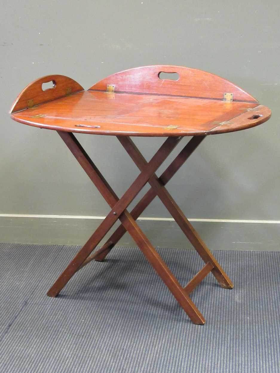 A mahogany butlers tray on folding stand (2) - Image 2 of 6
