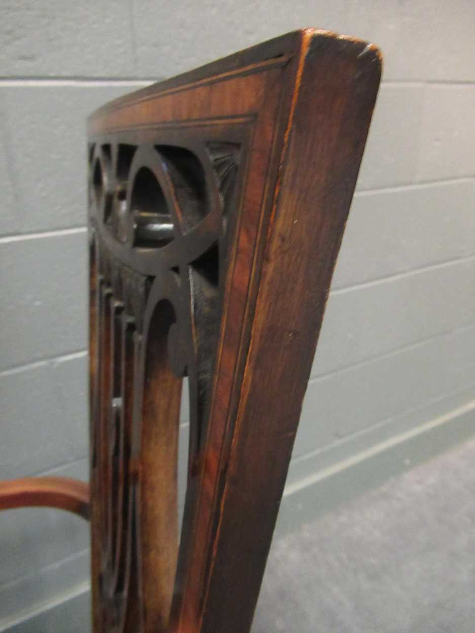 An Edwardian inlaid high-back elbow chair together with an X-frame stool - Image 6 of 15