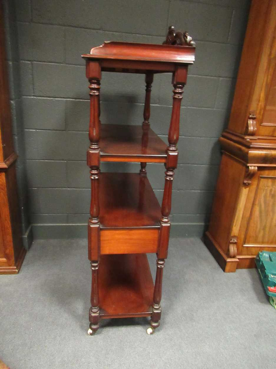 Victorian mahogany four tier whatnot, 155 x 82 x 42 cm - Image 5 of 7