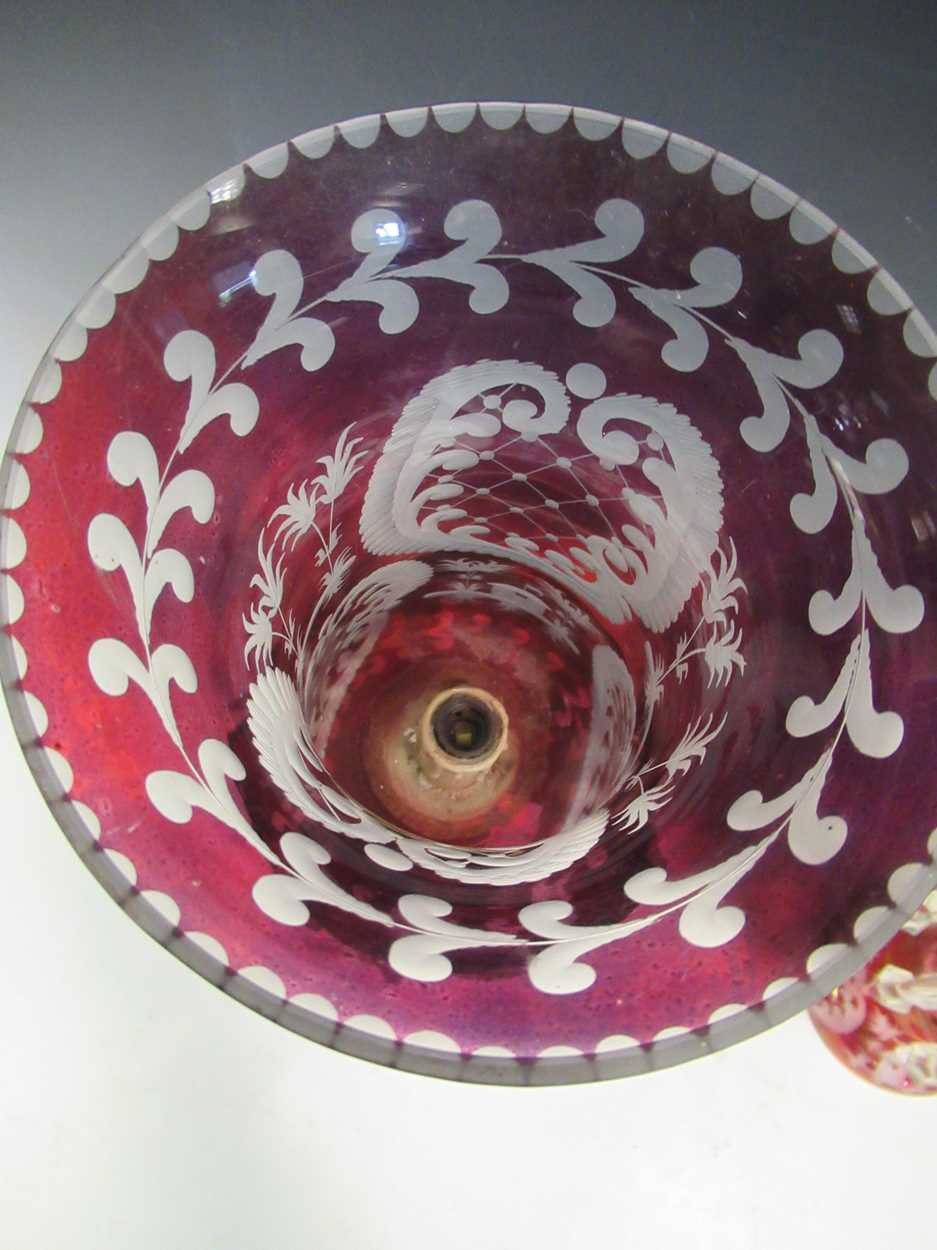 A pair of red glass candle lustres, 45cm high - Image 8 of 8