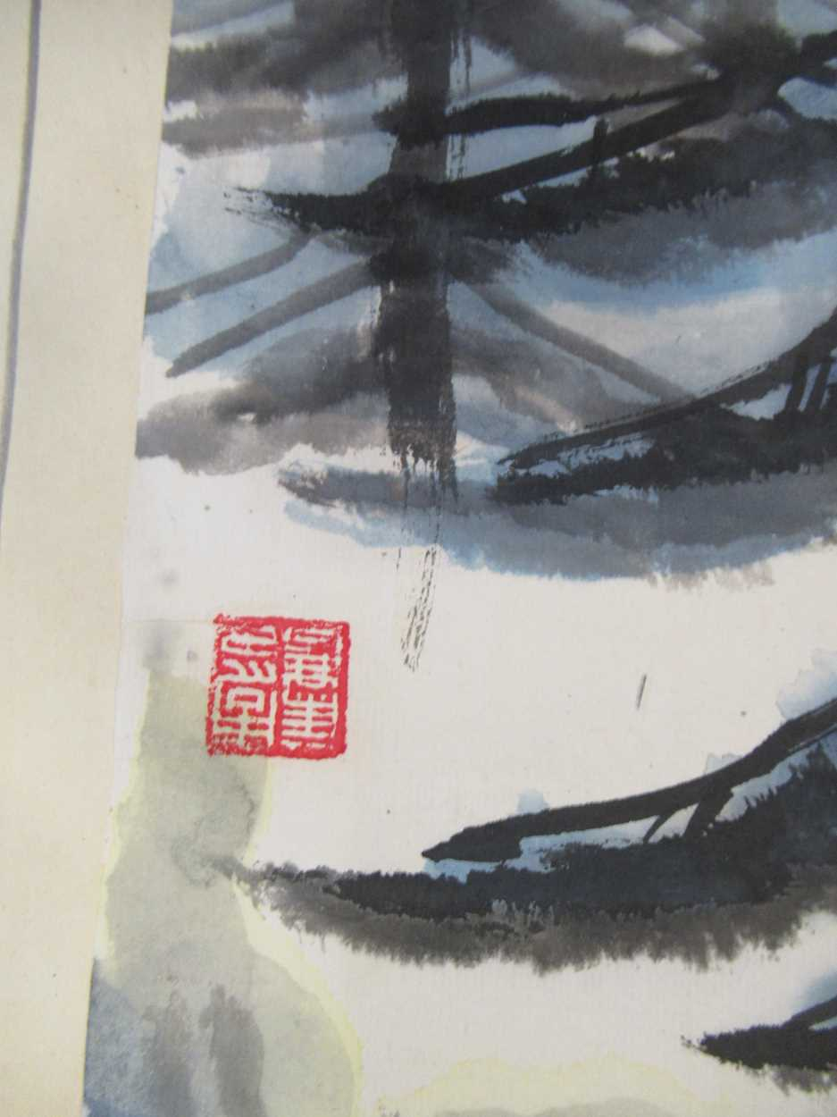 A group of three 20th century Chinese watercolour and gouaches, to include Northeast Treasure, 44. - Image 6 of 11