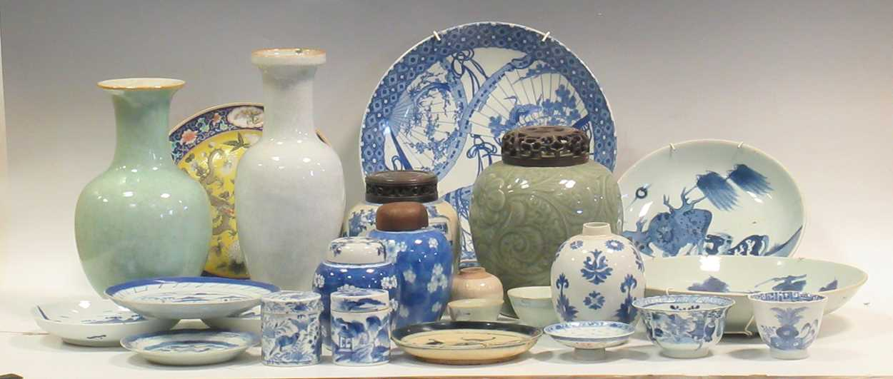 Various ceramic jars, plates and bowls (qty)Condition report: Marking and fading to gilt and pattern