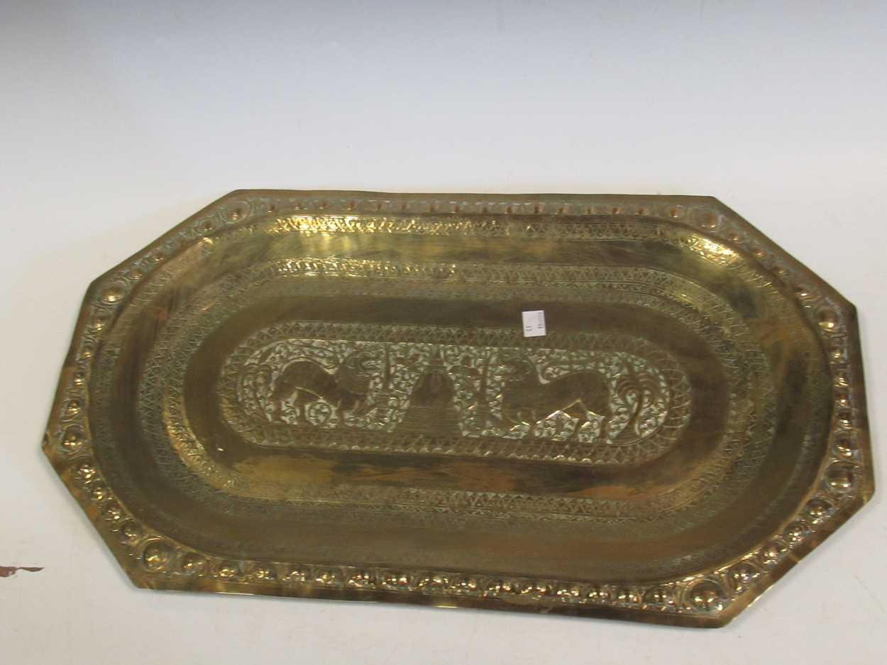 Indian brass tray, Poole vase, pair of twist candlesticks, vases, decanter etc - Image 12 of 14