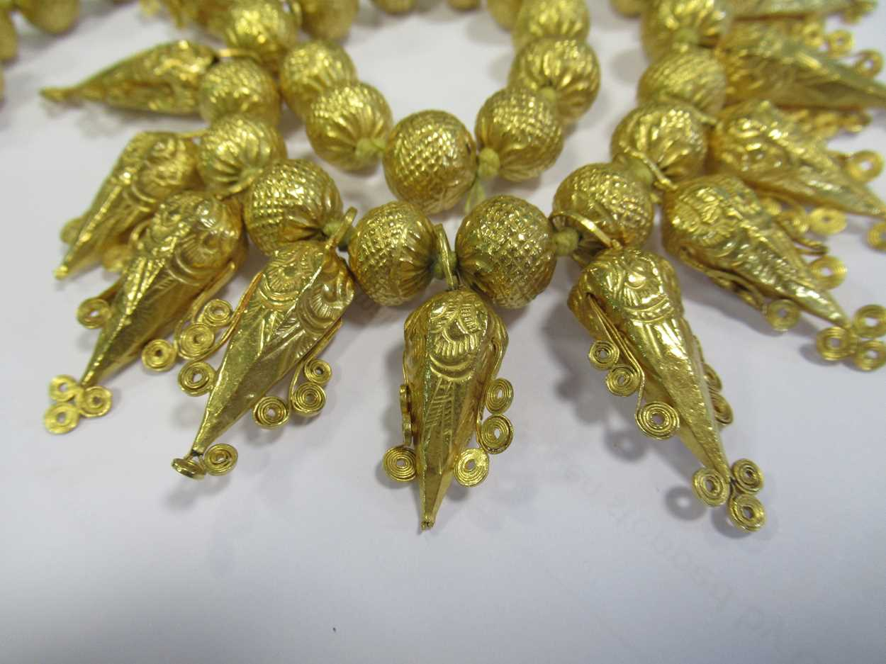 An Indian wax filled bead necklace, tested as 22ct gold, gross weight 83.2g, together with a - Image 10 of 14