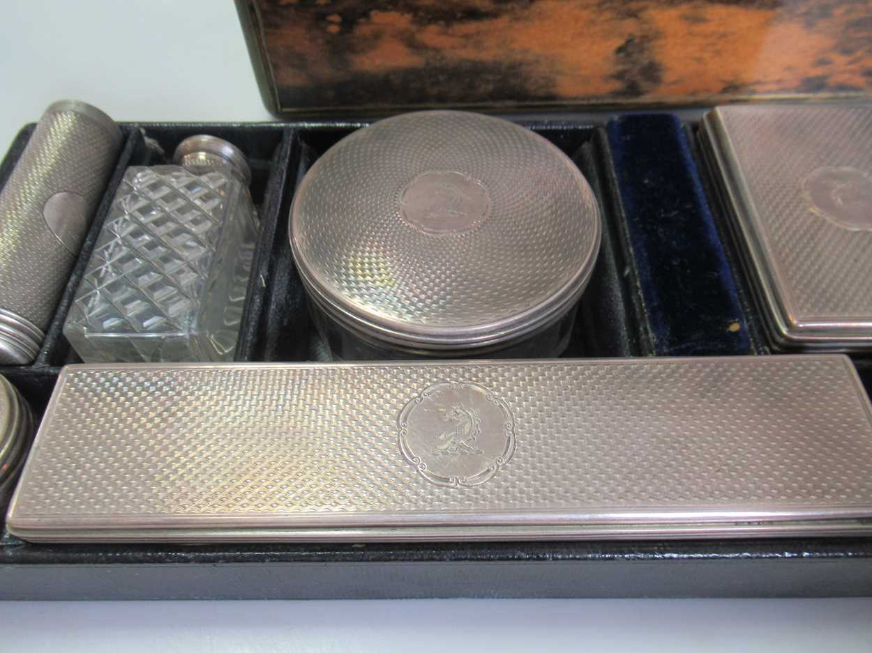 A coromandel fitted travelling dressing table box marked S.Mordan & Co, with brass plate engraved - Image 4 of 10