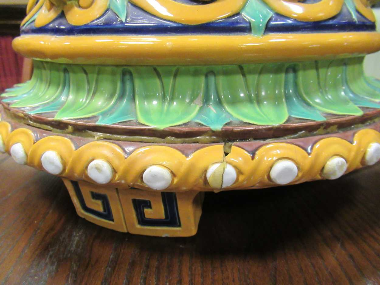Minton majolica jardiniere stand converted to a light, impressed mark, 46cm high (top broken) - Image 12 of 14