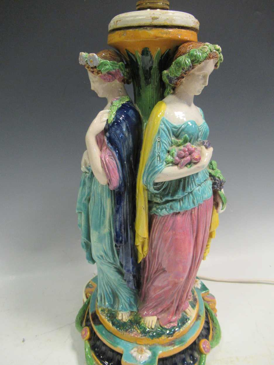 A majolica figural centrepiece, modelled as three maidens, converted to a lamp, 42cm high - Image 3 of 16