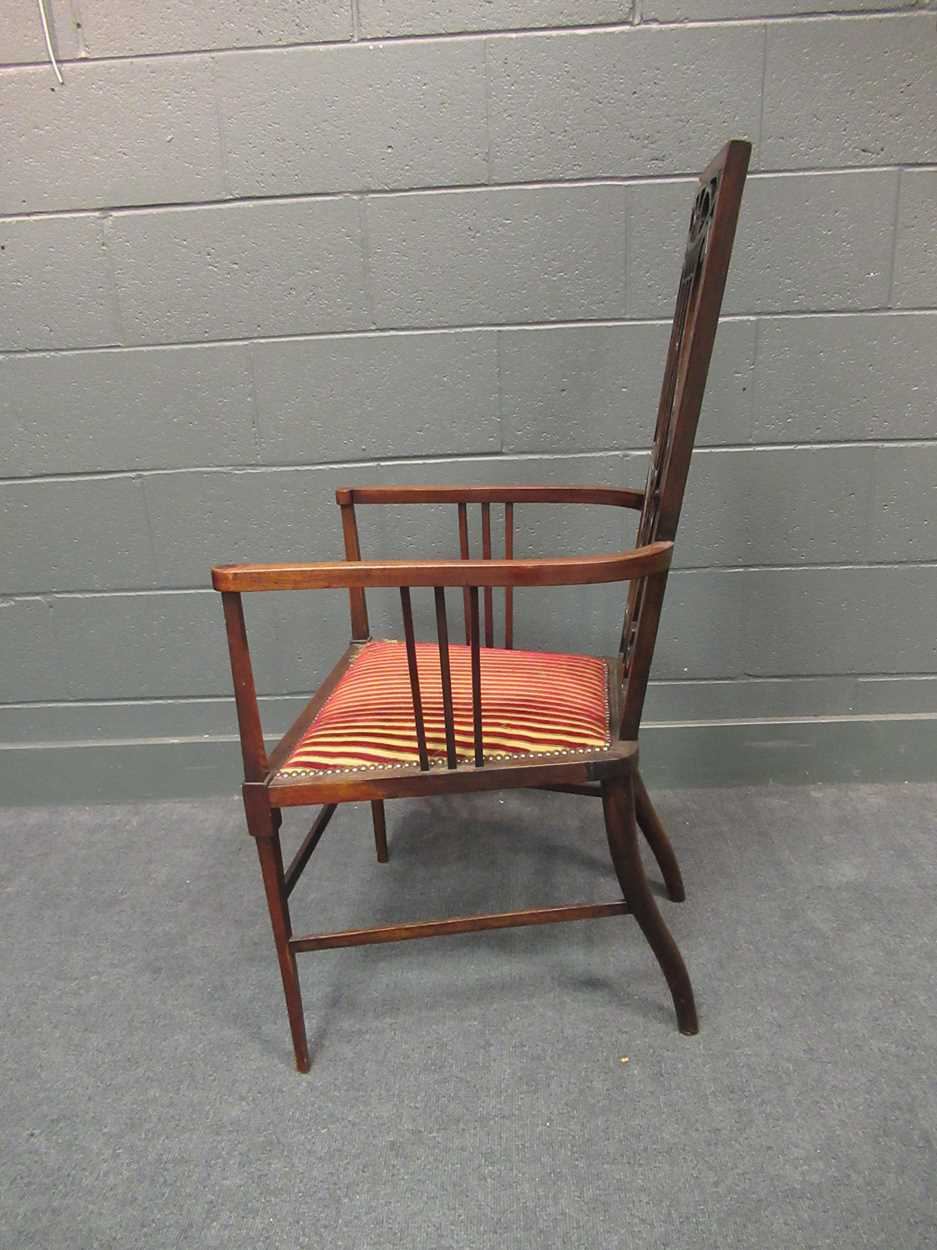 An Edwardian inlaid high-back elbow chair together with an X-frame stool - Image 9 of 15