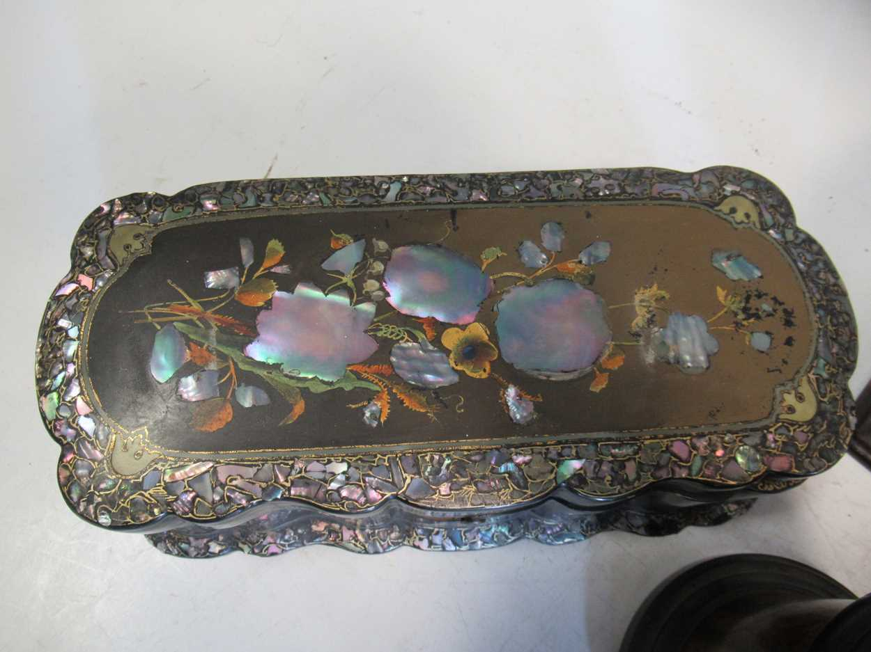 A 19th century string box, a black lacquered bottle coaster, a papier mache and mother of pearl box, - Image 3 of 4