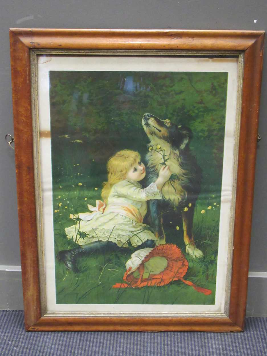 Two large Victorian maple frames, each containing a print, with print 53 x 43 cm, 65 x 45cm together - Image 2 of 3