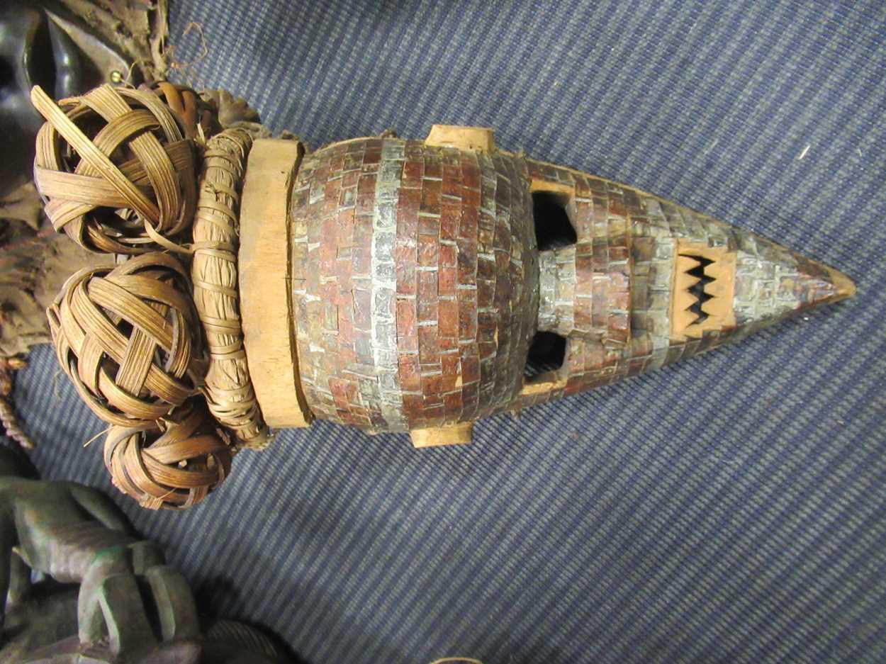 A Chokwe mask, a Yoruba Gelede mask, a Salampasu mask decorated with copper sheets and a Yaka type - Image 4 of 6