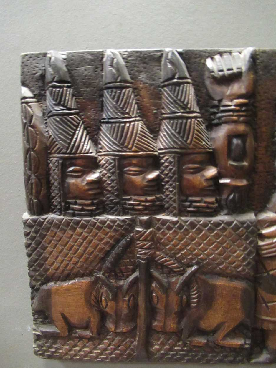 A Benin carved wood rectangular casket table 64 x 97 x 61cm together with a Benin carved wood - Image 2 of 10